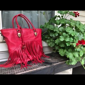Red fringed sorrentino purse